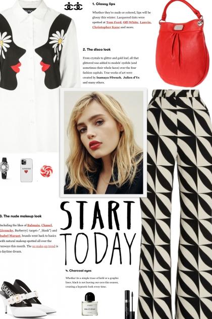 How to wear Geometric Print High Waist Trousers!