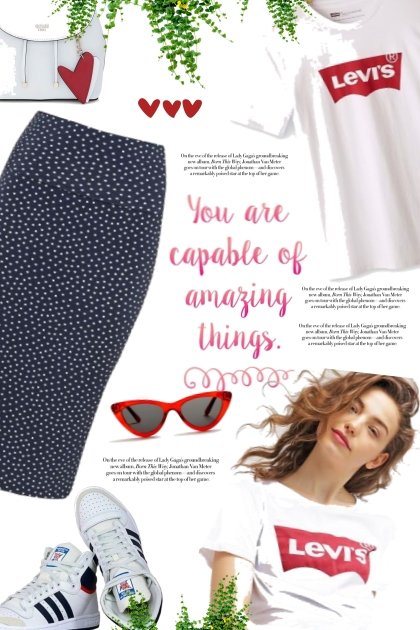 City girl / Pencil skirt and Sneakers