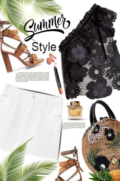Summer Style / White Denim Skirt