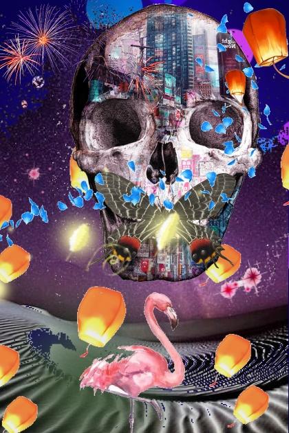 floating skull city