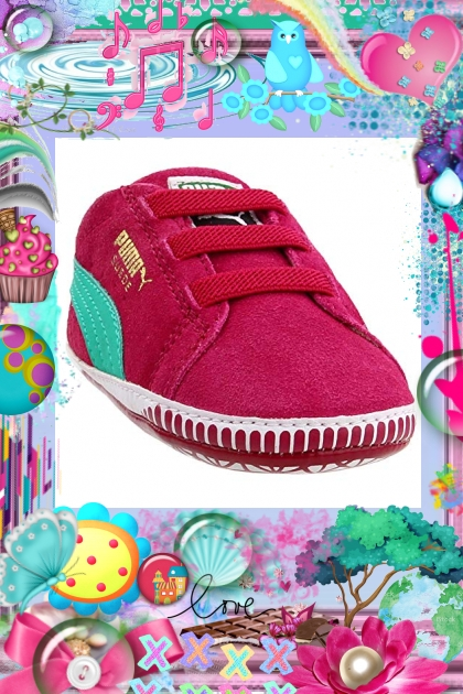 pink n teal puma shoe
