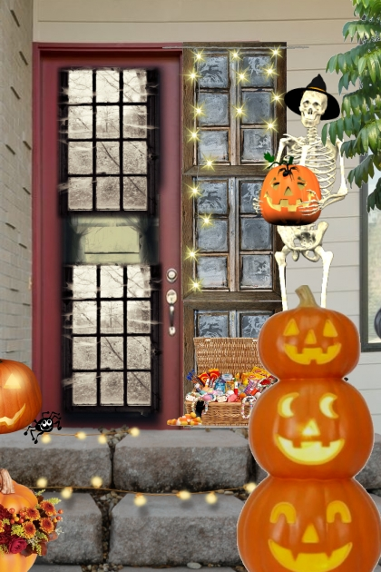 front door step on halloween