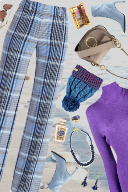 blue hued plaid purple pops