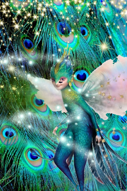 pixie in a peacock forest