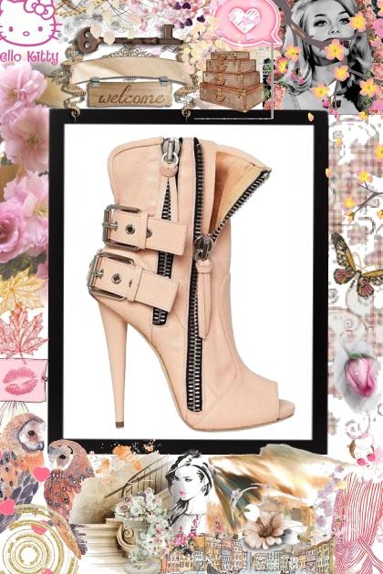 soft pink zipper booties