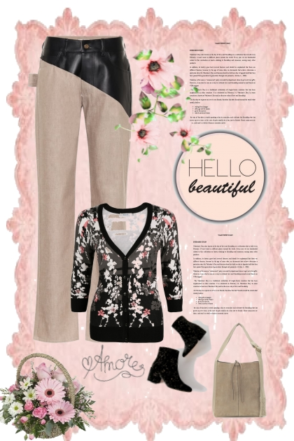 HELLO BEAUTIFUL PASTEL PINK DARK FLORALS- Fashion set