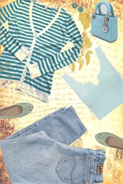 BABY BLUE STRIPE HYPE- Fashion set