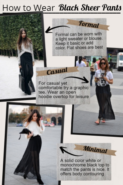 how to wear Black Sheer Pants- Combinaciónde moda