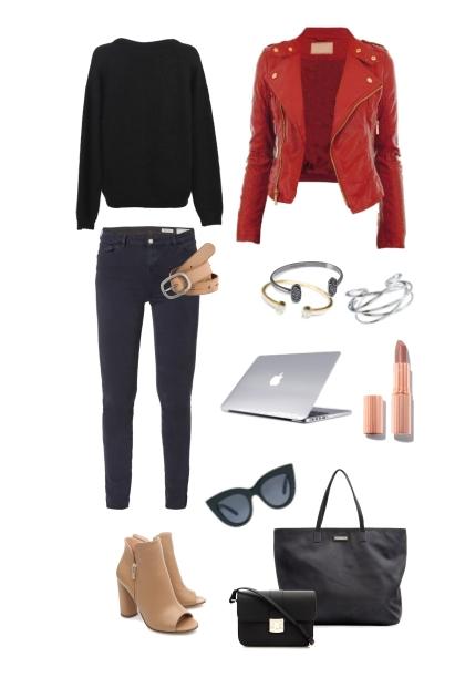 Black with a splash of red & beige