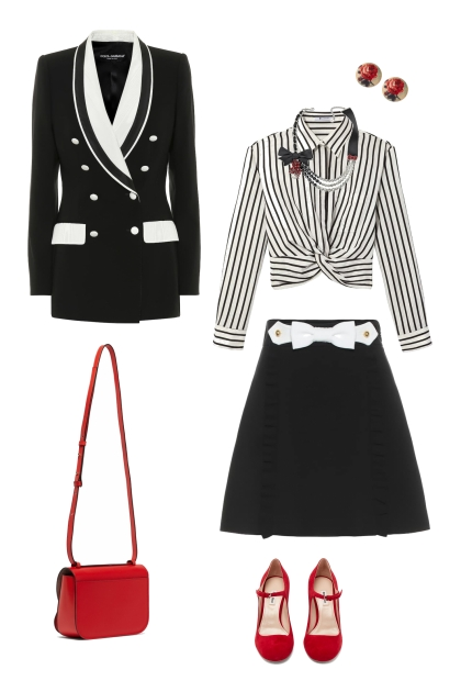 business black n white w/ red pop