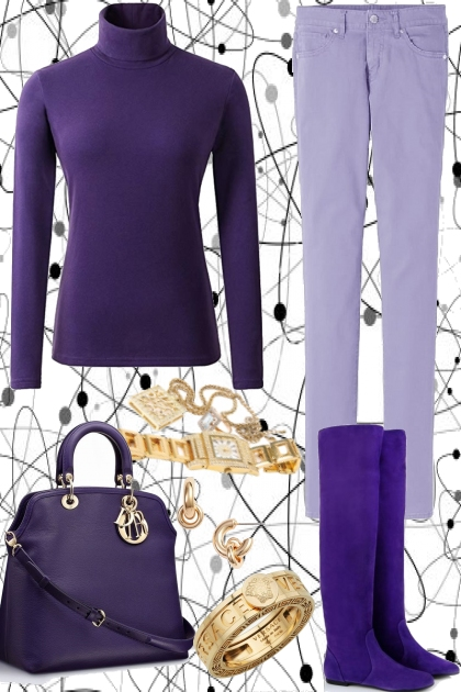PURPLE TURTLE NECK WITH JEANS