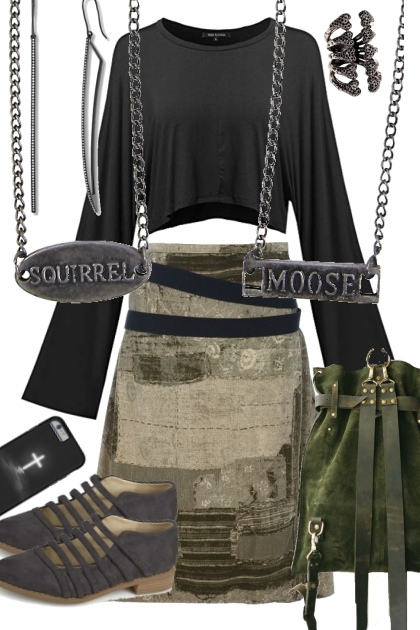 RUSTIC SKIRT WITH FLATS
