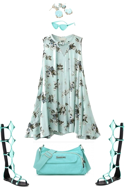 TURQUOISE SUMMER PRINT SWING DRESS