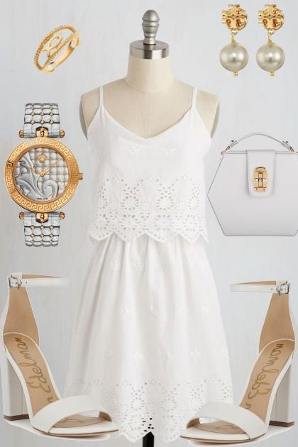 SUMMER EYELET DRESS: WHITE