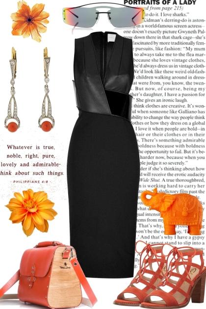NEW BLACK DRESS WITH ORANGE ACCESSORIES