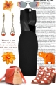 NEW BLACK DRESS WITH ORANGE ACCESSORIES