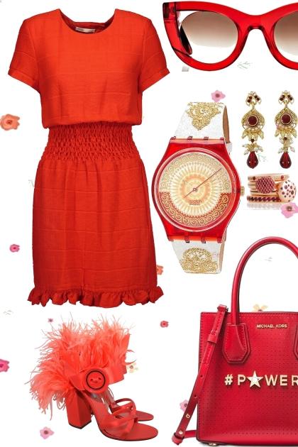 SHIRRED WAIST DRESS IN RED