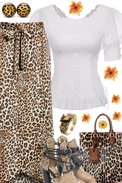 LEOPARD SKIRT AND BAG