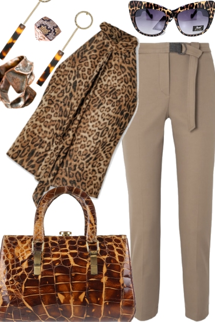 LEOPARD SHIRT WITH ALLIGATOR BAG