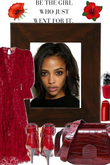 RED LACE RUFFLE DRESS <3