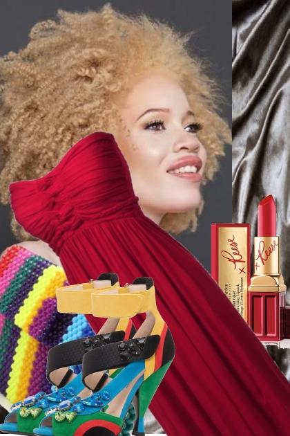 STRAPLESS RED DRESS- Fashion set