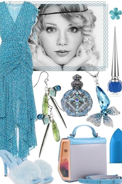 BLUE V NECK SUMMER DRESS