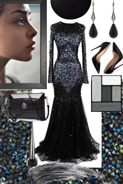 BLACK SPARKLE DRESS ON TREND ME- Modna kombinacija