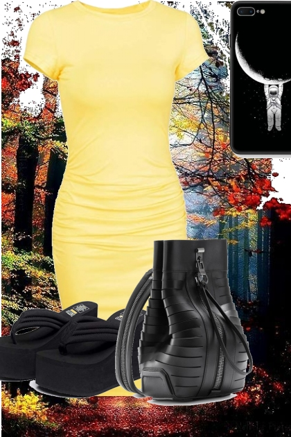 yellow tee dress with black accessories