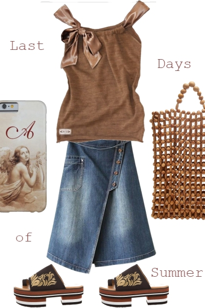 RESTYLED BROWN TANK TOP WITH DENIM SKIRT