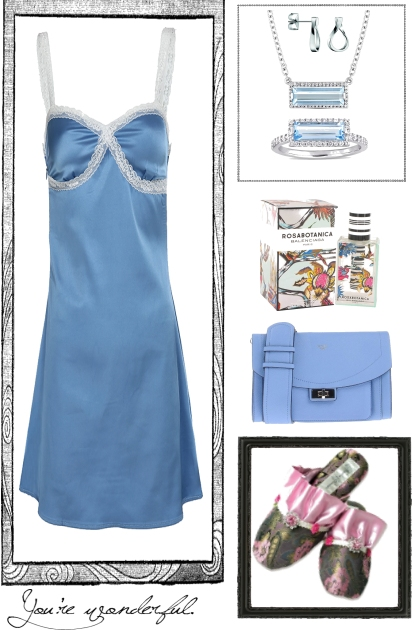 SLIP DRESS IN BLUE- Fashion set