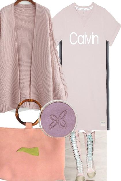 TEE DRESS WITH CARDIGAN <3 <3 cK