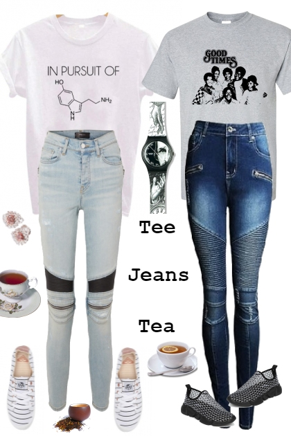 TWO TEES WITH TWO JEANS FOR TEA