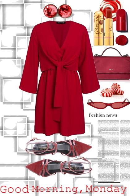112519 RED DRESS- Fashion set