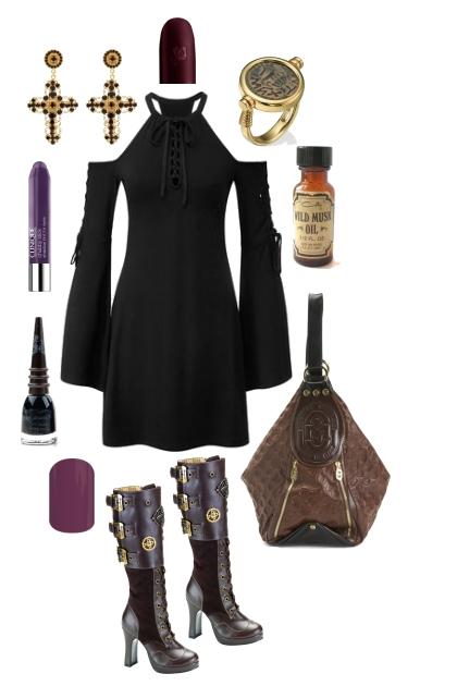 COLD SHOULDER BELL SLEEVE BLACK DRESS