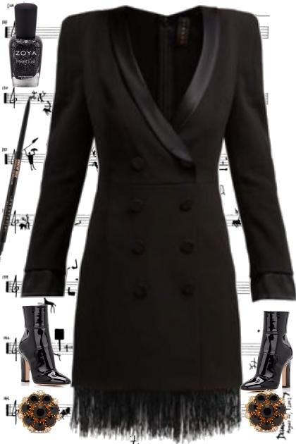 BLACK FEATHER FRINGED DRESS 2020