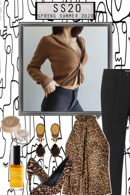 TREND ME ZIP UP TOP WITH LEOPARD UNDERNEATH- Fashion set