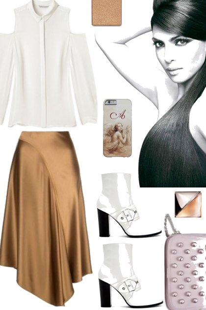 COLD SHOULDER WITH SATIN SKIRT