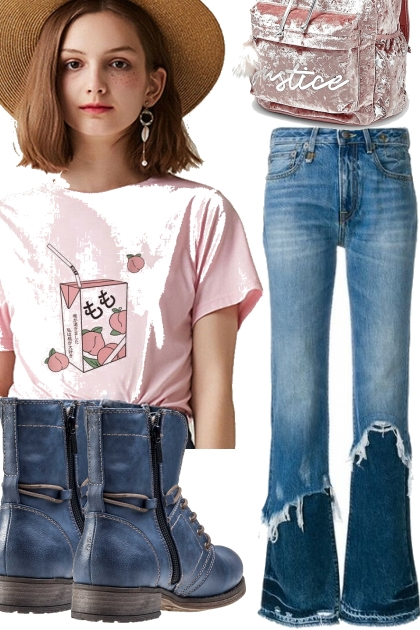 PEACHY TEE AND JEANS