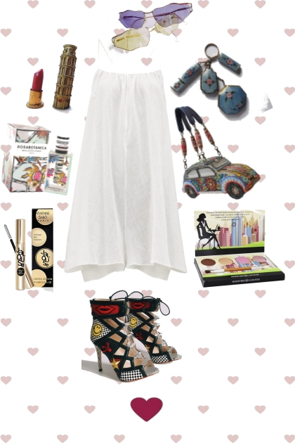 WHITE SWING DRESS WITH FUN ACCESSORIES
