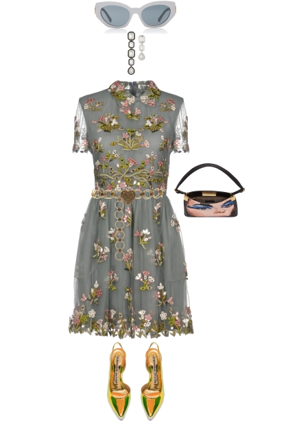 GRAY FLORAL DRESS FOR SPRING 2020