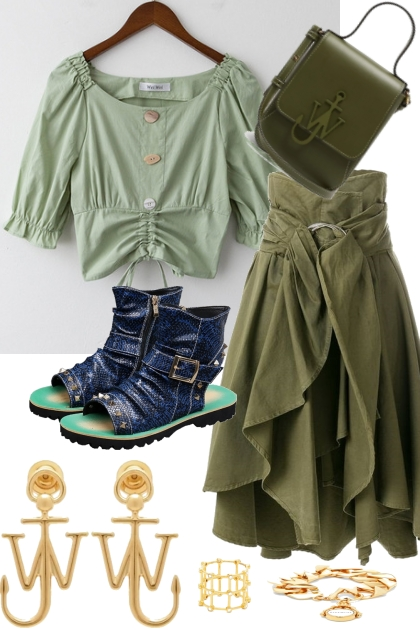 GREEN TREND ME SHIRT WITH SKIRT