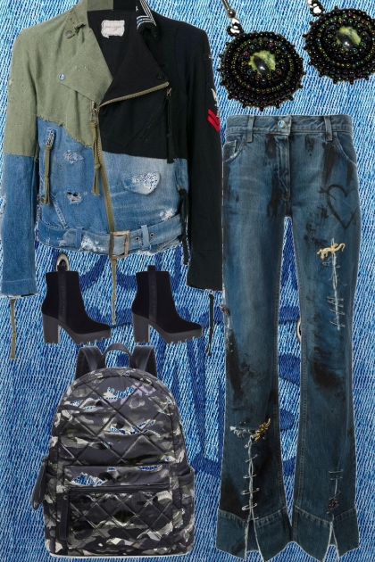 DISTRESSED JEANS AND JACKET
