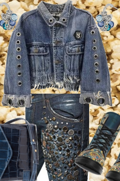 083120 DENIM MARK STUDDED AND GROMMETED