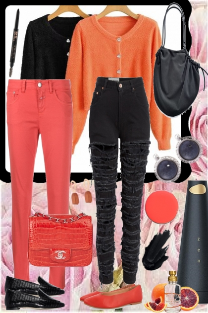 TREND ME CARDIGANS BLACK AND ORANGE