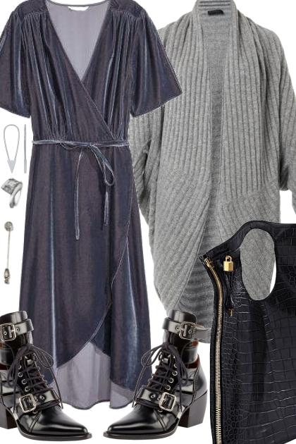 WRAP DRESS WITH COZY CARDIGAN