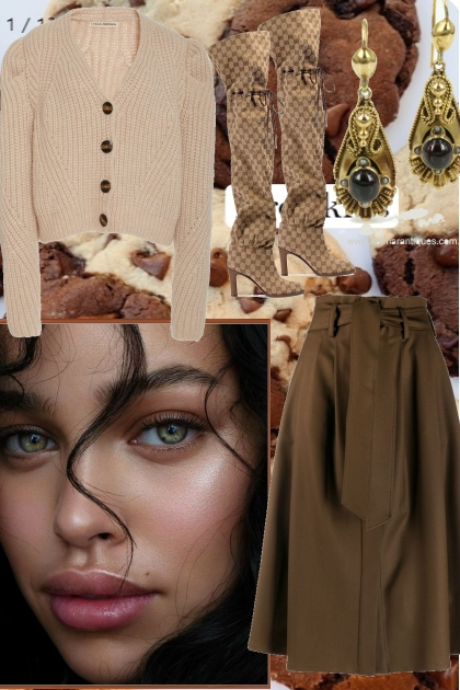 BEIGE CARDIGAN, BROWN SKIRT 10282020