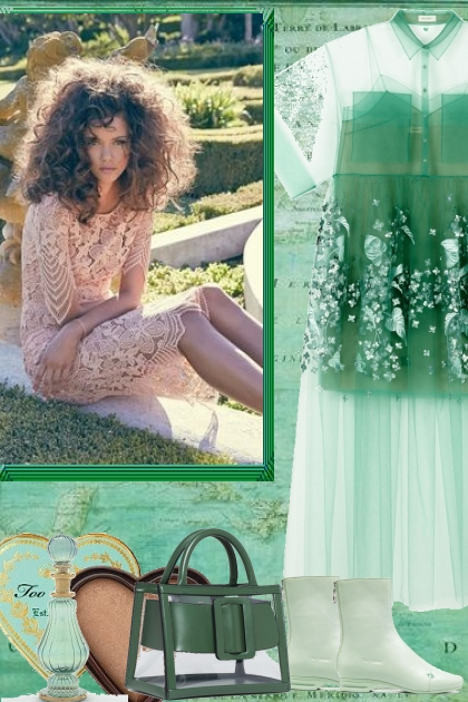 SHEER GREEN DRESS WITH CLEAR BAG