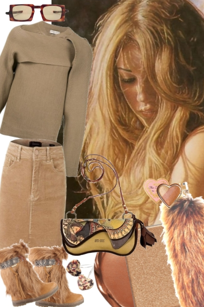``` CORDUROY SKIRT AND FAUX FUR BOOTS ``