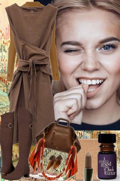 BROWN WRAP AROUND DRESS 2222021