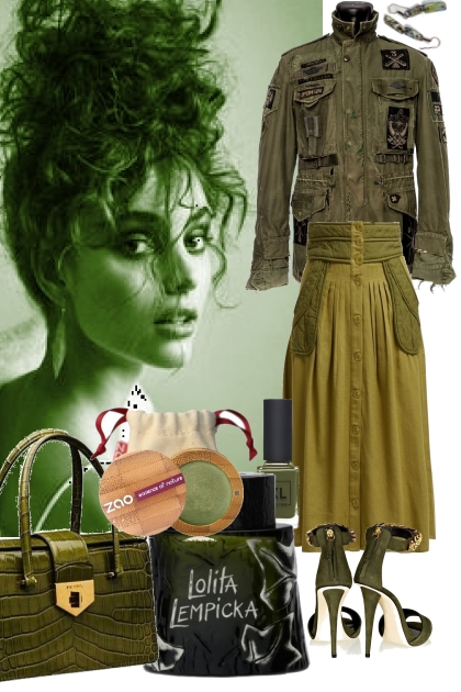 42021 ARMY GREEN JACKET AND SKIRT AND SANDALS